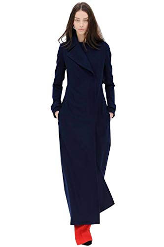 2018 Winter Wool Cashmere Navy Military Maxi Slim Long Coat Noched Simple Outerwear (Medium)