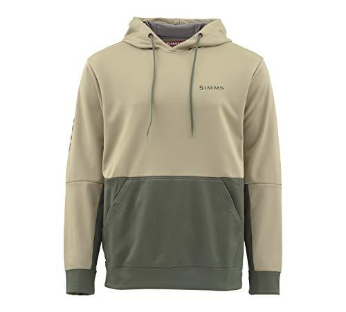 Simms Challenger 50+ UPF Hoody Sweatshirt - Men's Pullover Hoodie Sweatshirt with Sun Protection - Kangaroo Pocket with Cell Phone Holder, Tan, - Pullover 50 Hoodie Sweatshirt