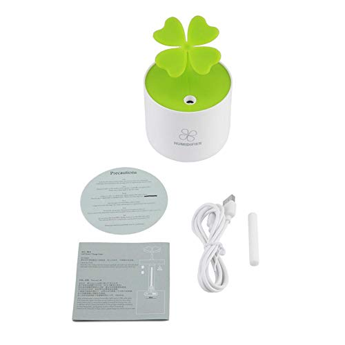 TOPINCN Humidifier Mini Portable Humidifier Four Leaves Clover Mist Maker Air Purifier for Bedroom Baby(White)