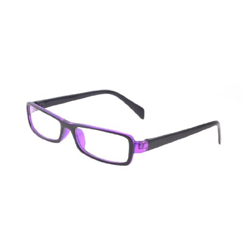 Rim Plastic Full (Woman Black Purple Plastic Full Rim Clear Lens Plano Glasses)