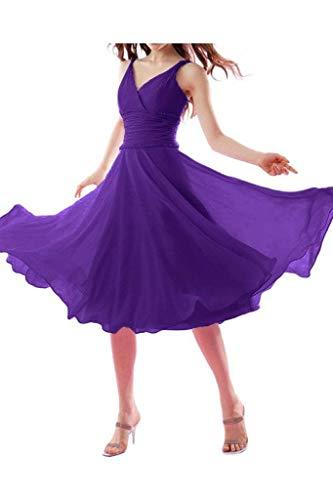 Braut Chiffon Traegerkleider mia Abendkleider Elegant Kurz Einfach Wadenlang Brautjungfernkleider Lila Ausschnitt La Promkleider V CS5nxS