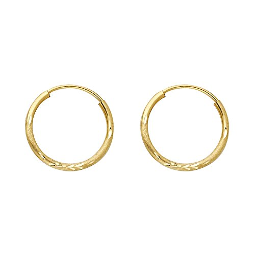 14k Yellow Gold 1.5mm Thickness Satin/Endless Hoop Earrings (15 x 15 mm) 14k Yellow Gold Satin Hoop