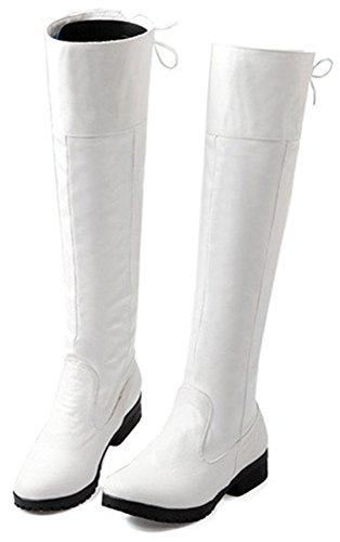 Easemax Women's Elegant Lace Up Low Chunky Heel Round Toe Knee High Booties White lzwITNg8MA