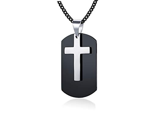 - LiFashion LF Mens Personalized Name Date Custom Stainless Steel IP Black Plated Christ Holy Cross Military Dog Tag Necklace Army Tag Corss Pendant Christian Jewelry,Free Engraving Customized