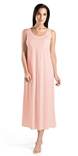 - HANRO Women's Cotton Deluxe Long Tank Gown, Tender Rose, X-Large