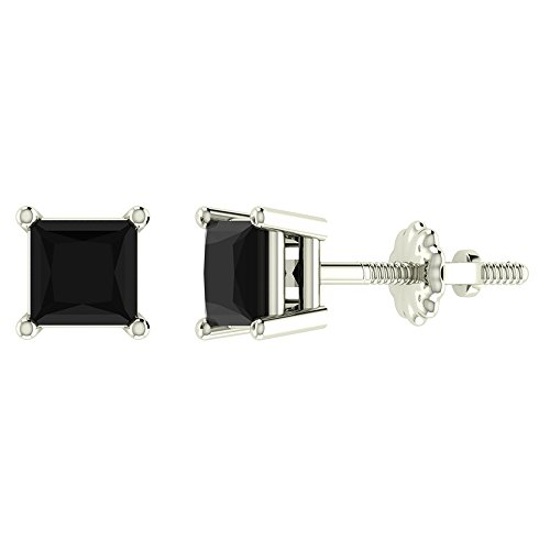 Princess Cut Diamond 4 Prong (2/3 ct tw Natural Black Natural Princess Cut Diamond Stud Earrings 14K White Gold Screw Back)