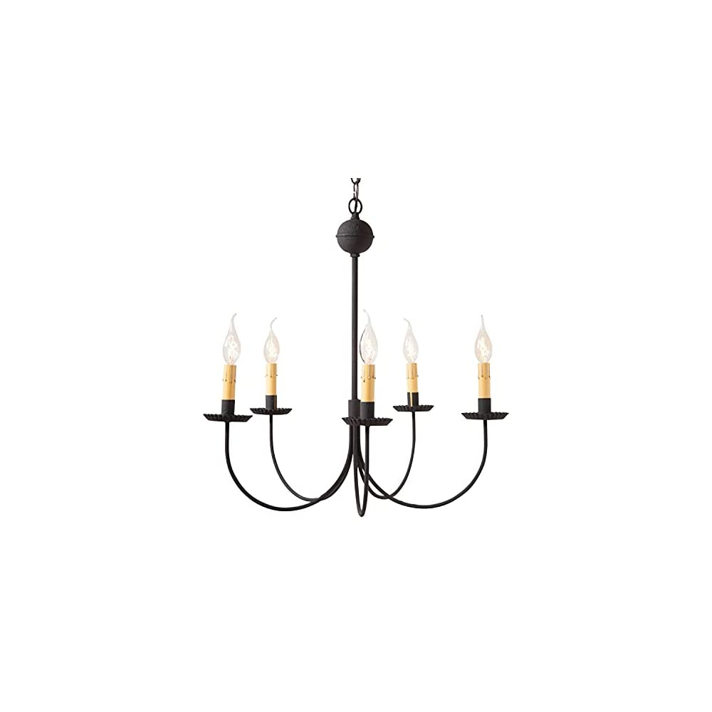 Irvin's Country Tinware 9179BK - Primitive Colonial 5 Light Chandelier with Textured Black Finish