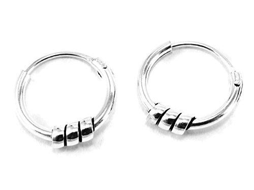 925 Silver Bali Tribal Fashion Earring Hoops Accesssories for Women / Men 3/8