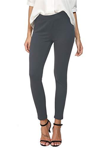 Bamans Womens Slim ComfortFitSkinnyLegStretchPull-On Work Pants, Grey XX-Large