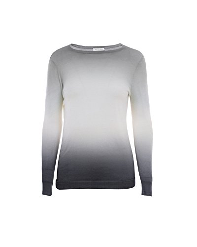 Minnie Rose Women's Cashmere Double Dip Dye Pullover M Lt Grey/Charcoal