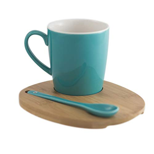 Amuse- Aquarelle Collection- Round Mug with Bamboo Tray and Spoon (12 oz.)- Gift Box (Turquoise)