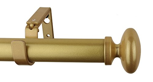 Meriville 1-Inch Diameter Prima Single Window Treatment Curtain Rod, 28-Inch to 48-Inch, Gold