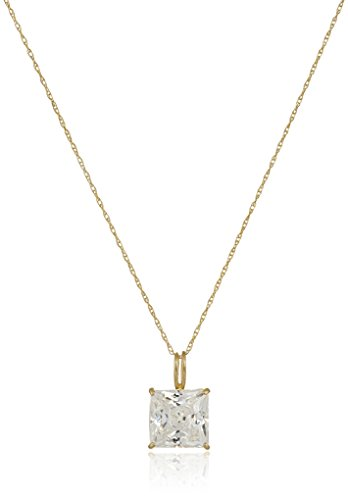 10K Yellow Gold Solitaire Pendant set with Princess Cut Swarovski Zirconia 3 cttw , 18