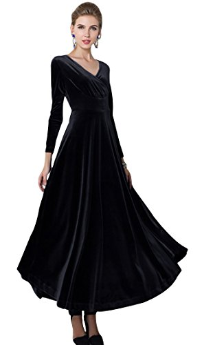 Urban CoCo Women Long Sleeve V-Neck Velvet Stretchy Long Dress (Medium, Black)