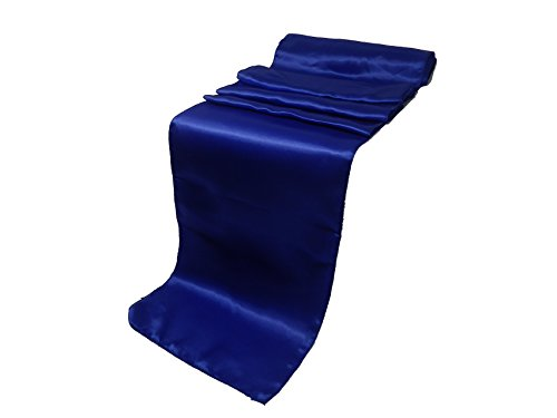 ELINA'S Pack OF10 Wedding 12 x 108 inch Satin Table Runner Wedding Banquet Decoration- Gold (Royal Blue) -