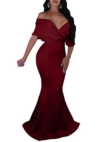 GOBLES Women Sexy V Neck Off The Shoulder Evening Gown Fishtail Maxi Dress (S, Wine red) ()