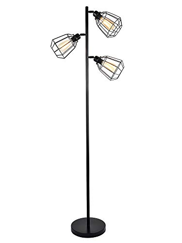 LEONLITE 65inch Track Tree Floor Lamp, 3-Head Torchiere Lamp Fixture, 3 Bulbs Included, Rustic Floor Lamp Industrial Style