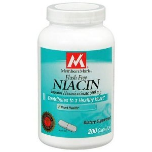 Membre Mark Niacine 500mg de vitamine B-3 gratuit Flush, Capsules, 200-Count