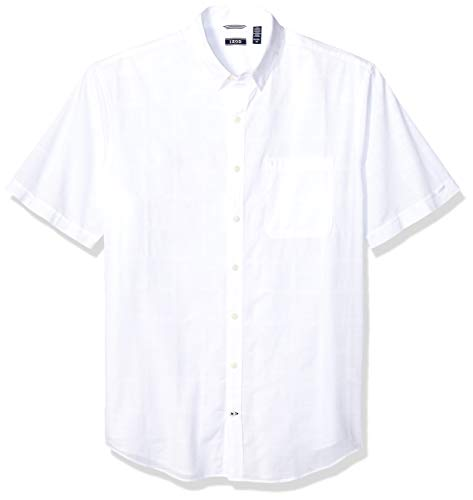 IZOD Men's Big and Tall Saltwater Short Sleeve Windowpane Button Down Shirt, Bright White, X-Large