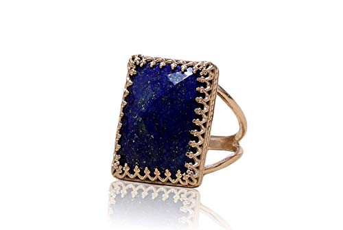 Anemone Jewelry Lovely September Birthstone - Stunning Lapis Lazuli Ring with 14k Rose Gold-filled Double Band - Handmade Birthstone Rings for Women - Free Fancy Box - Engraving Available