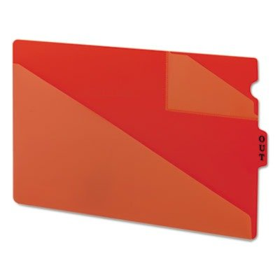 Smead End Tab Poly Out Guide, Two-Pocket Style, Center Position Tab, Legal Size, Red, 50 per Box (Out Guides Two Diagonal Cut)
