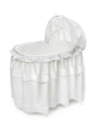 Portable Rocking Baby Bassinet with Toybox Base, Long Skirt, and Pad