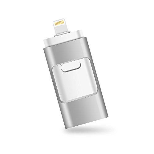 iPhone Lightning Flash Drive 32GB [3-in-1], E&jing USB 3.0 External Storage Memory Stick Adapter Expansion for iPad/iPod/Mac/Android/PC/iOS.(Silver) [Apple MFI Certified]
