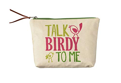 Studio M Bird Nerd Talk Birdy to Me Zippered Cotton Cosmetics Pouch for Make-Up or Pencil Case Bag, Cute Trendy Funny Whimsical, 9 x 6.5 x 2 Inches ()