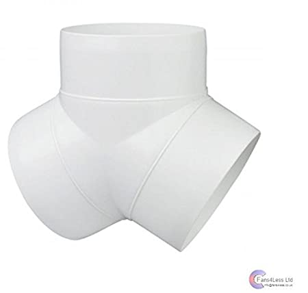 PVC DUCTING Y PIECE Y PIECE FOR FANS EXTRACTOR FANS 4' 100mm, 5' 125mm, 6' 150mm (4') 5 125mm 6 150mm (4) fans4less