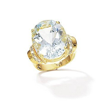 14kt. Oval Aquamarine And Diamond Ring (Size 5.5)