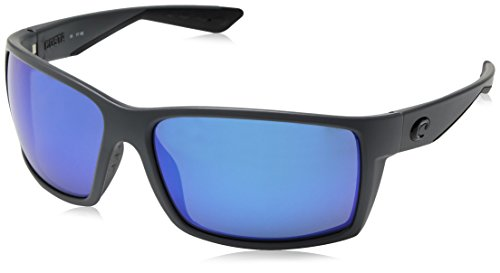 Blue Polarized Glass Mirror - Costa del Mar Men's Reefton Polarized Blue mirror Rectangular Sunglasses, Matte Gray, 63.7 mm