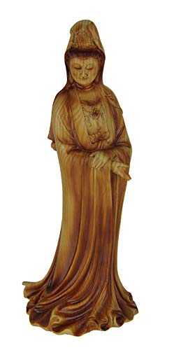 Everspring Guanyin Goddess of Mercy Faux Carved Wood Look Statue