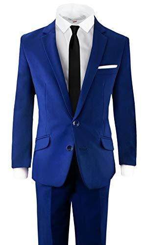 (Black n Bianco Signature Boys' Slim Fit Suit Complete Outfit (16, Blue))