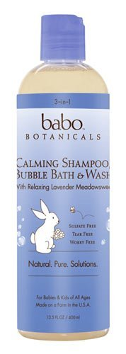 Babo Botanicals Lavender Meadowsweet 3 in 1 Bubble Bath Shampoo Wash, 13.5 Ounce (2 Pack) by Babo Botanicals