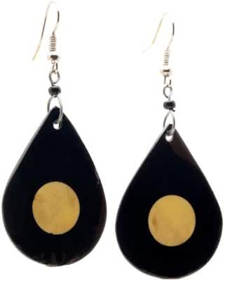 Maisha Fair Trade Teardrop Brown and Ivory Upcycled Bouvine Horn Earrings