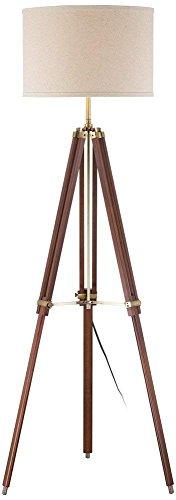 NAUTICALMART Cherry Finish Wood Surveyor Tripod Floor Lamp