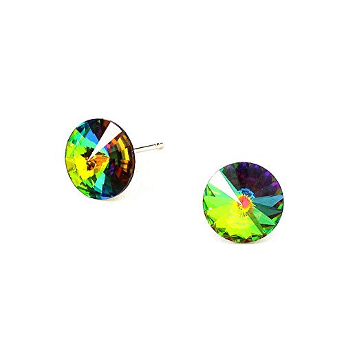 (Dark Vitrail Austrian Crystal Solitaire Post Earrings)