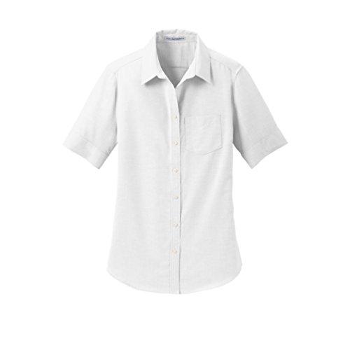 Oxford Pleats Shirt - Port Authority womens Short Sleeve SuperPro Oxford Shirt, White, Small