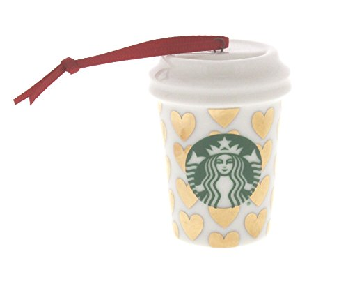 Starbucks Holiday Golden Hearts Cup Ceramic Ornament 011051437
