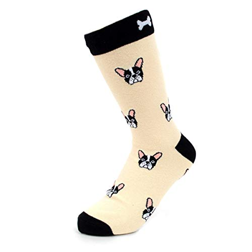 Women's Fun Crew Socks, Sock Size 9-11 / Shoe Size 4-10, Great Holiday/Birthday Gift (Bulldog Face Beige) ()