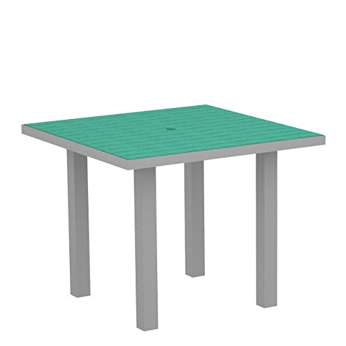 (POLYWOOD AT36FASAR Euro 36-Inch Square Dining Table, Silver Aluminum Frame,)