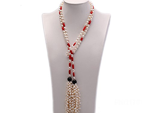 JYX 7-9mm White Oval Freshwater Pearl Necklace with Red Oval (Red Freshwater Pearl Necklace)