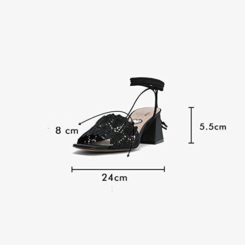 Fiesta Playa Zapatos Gruesas De Bloque Temporada Mujer Desgaste De Zapatos Talón Tacones Tamaño UK4 EU36 Dos Verano WYYY Sandalias De Sandalias Casuales Bajo Hueco Bajos wT1HY