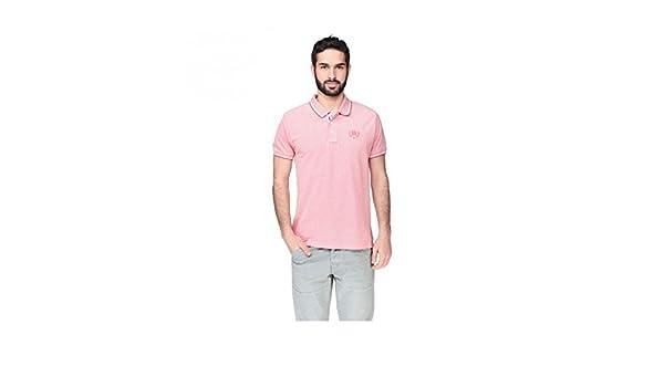 RIVALDI-Polo para hombre, diseño de flores, color rosa y blanco ...