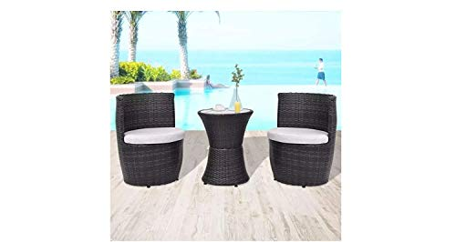 h4home Patio Furniture Ratan Bistro Set 1 Coffee Table 2 Chairs with Seat Cushions Conservatory Garden Outdoor Balcony PE Rattan Sun Room Furniture Set Modern Contemporary Black