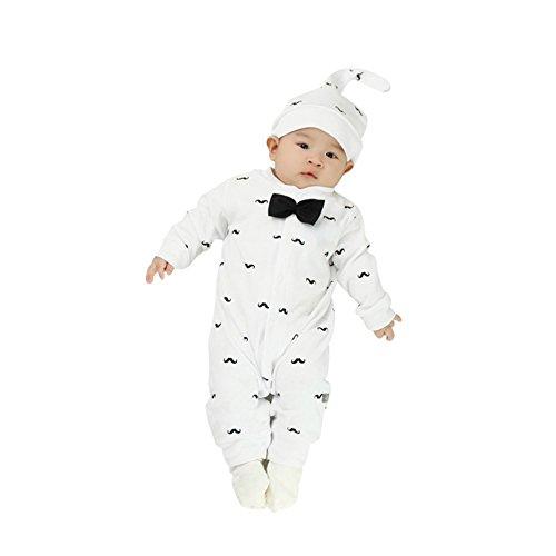 FlyBear Newborn Infant Baby Boys Warm Bodysuit Underwear Pajamas Print Romper Long Sleeve Gentleman Jumpsuit Outfits & Hat White 6 Months