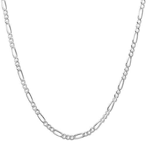 Italian 2mm Figaro Chain Crafted Necklace For Men & Women - Lobster Claw Clasp/With FREE Gift w Orde (18.0 Inches) ()