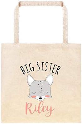 Boho Fox - Bolsa de regalo personalizada para hermana mayor, regalo para hermana mayor, bolsas personalizadas, bolsa de regalo de animales del bosque, regalos de zorro