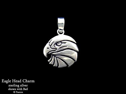 Eagle Head Charm Eagle Necklace in Solid Sterling Silver Hand Carved & Cast by Paxton