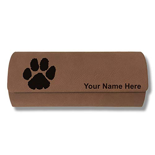 Sunglass Case, Paw Print, Personalized Engraving Included (Dark ()